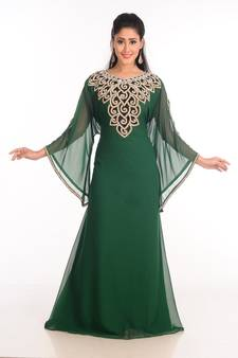 86f1d3d3d7 Green Zari Work Stones & Beads Embellish GEORGETTE Islamic Style Arabian  Maxi Partywear Kaftan