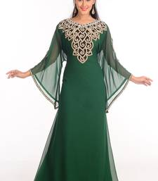 Green Zari Work Stones & Beads Embellish GEORGETTE  Islamic Style Arabian Maxi Partywear Kaftan