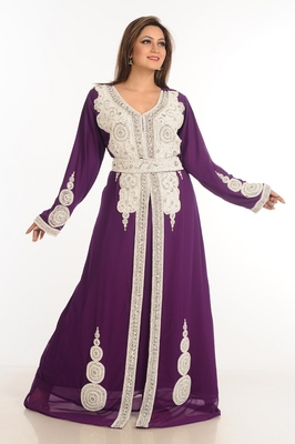 Wine Zari Work Stones & Beads Embellish Georgette  Islamic Style Arabian Maxi Partywear Kaftan