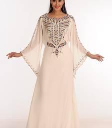 Off white Zari Work Stones & Beads Embellish GEORGETTE  Islamic Style Arabian Maxi Partywear Kaftan