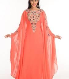 Peach Zari Work Stones & Beads Embellish Georgette  Islamic Style Arabian Maxi Partywear Kaftan