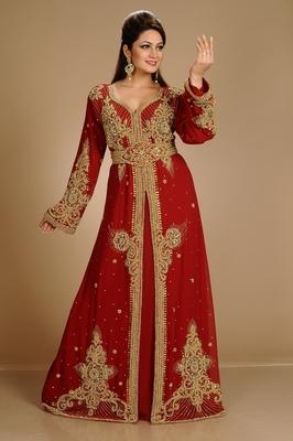 Maroon Zari Work Stones & Beads Embellish Georgette  Islamic Style Arabian Maxi Partywear Kaftan