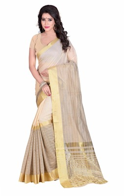 Off white woven cotton saree with blouse