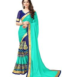 Buy Sky blue embroidered lycra saree with blouse half-saree online