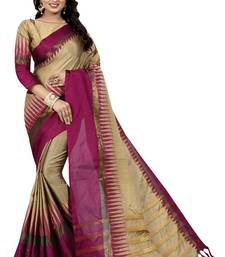 Buy Dark pink plain cotton silk saree with blouse cotton-saree online