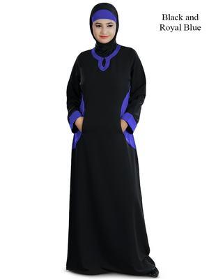 MyBatua Black Polyester Islamic Wear Arabian Dailywear Muslim Long Abaya With Hijab