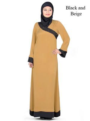 MyBatua Beige Polyester Islamic Wear Arabian Dailywear Muslim Long Abaya With Hijab