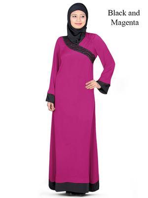 MyBatua Magenta Polyester Islamic Wear Arabian Dailywear Muslim Long Abaya With Hijab