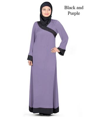MyBatua Purple Polyester Islamic Wear Arabian Dailywear Muslim Long Abaya With Hijab