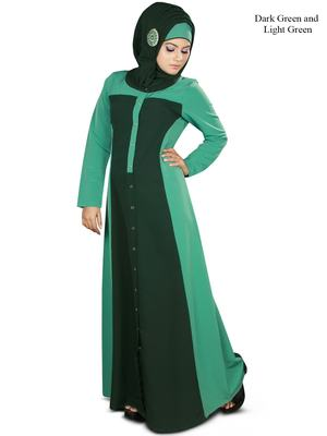 MyBatua Green Polyester Islamic Wear Arabian Dailywear Muslim Long Abaya With Hijab
