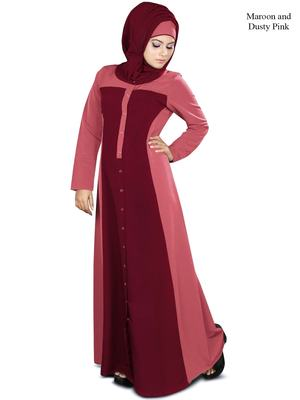 MyBatua Maroon Polyester Islamic Wear Arabian Dailywear Muslim Long Abaya With Hijab