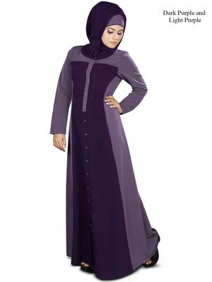 MyBatua Purple Polyester Islamic Wear Arabian Dailywear Muslim Long Abaya With Hijab
