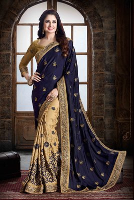 Dark blue embroidered pure georgette saree with blouse