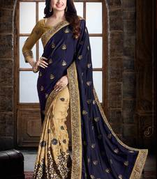 Buy Dark blue embroidered pure georgette saree with blouse designer-embroidered-saree online