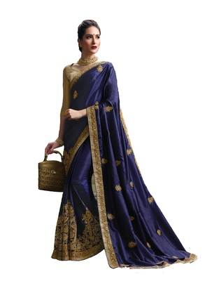 Dark blue embroidered pure silk saree with blouse