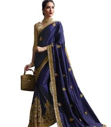 Buy Dark blue embroidered pure silk saree with blouse women-ethnic-wear online