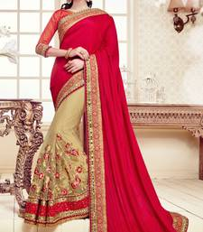 Buy Red embroidered pure georgette saree with blouse designer-embroidered-saree online