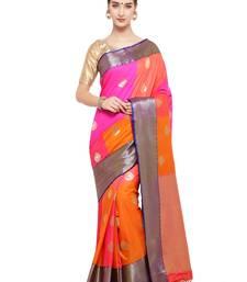 Multicolor woven katan silk saree with blouse