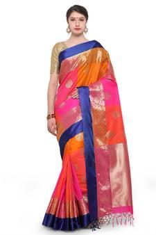 43deedff6fe Multicolor woven katan silk saree with blouse. Shop Now
