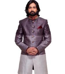 Buy Abhivani GREY color Chinese collar Sherwani for men wedding-sherwani online