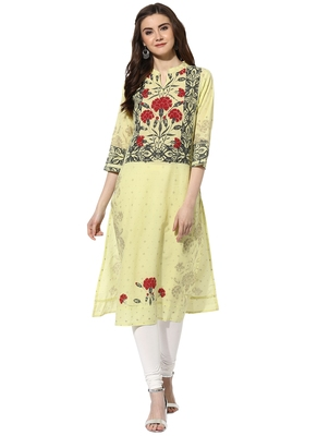Yellow cotton kurtas-and-kurtis