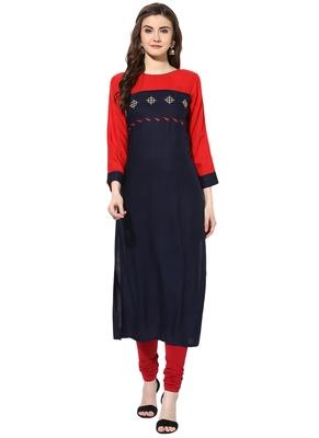 Red rayon embroidered-kurtis