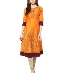 Orange cotton poly kurtas-and-kurtis
