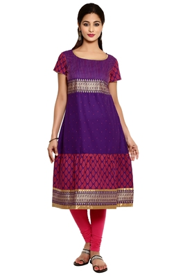 Violet cotton kurtas-and-kurtis