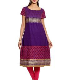 Violet cotton kurtas-and-kurtis