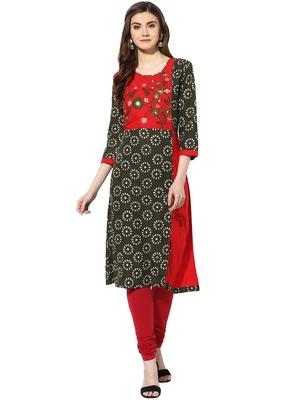 Green cotton embroidered-kurtis