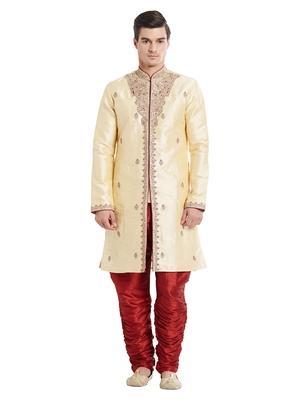 Indian Poshakh Maroon Art Silk Silk Blend Kurta Pajama