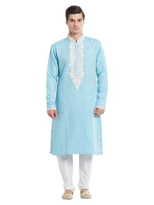 Indian Poshakh White Art Silk Pure Linen Kurta Pajama