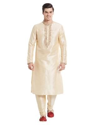 Indian Poshakh Fawn Art Silk Silk Blend Kurta Pajama