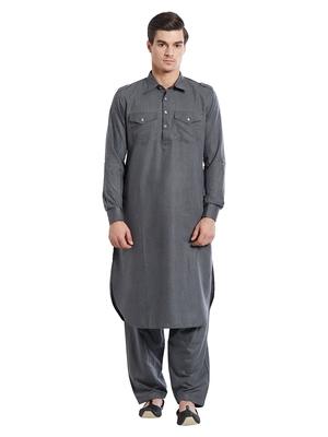 Indian Poshakh Grey Fila Fill Fila Fill Kurta Pajama