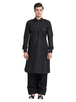 Indian Poshakh Black Linen Linen Kurta Pajama