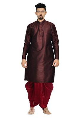 Brown Silk Ethnic Indian Traditional Mens Festive Wear Dhoti Kurta