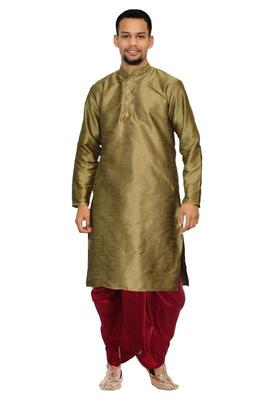 Copper Silk Ethnic Indian Traditional Mens Festive Wear Dhoti Kurta
