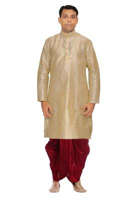 Multicolor Silk Ethnic Indian Traditional Mens Festive Wear Dhoti Kurta