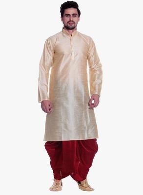 Gold Silk Ethnic Indian Traditional Mens Festive Wear Dhoti Kurta