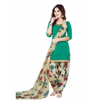 Green crepe printed unstitched salwar kameez with dupatta