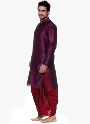 Violet Silk Ethnic Indian Traditional Mens Festive Wear Dhoti Kurta