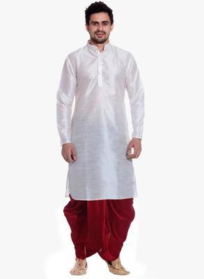 White Silk Ethnic Indian Traditional Mens Festive Wear Dhoti Kurta