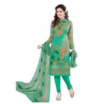 Green crepe printed unstitched salwar kameez with dupatta