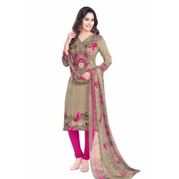 Beige crepe printed unstitched salwar kameez with dupatta