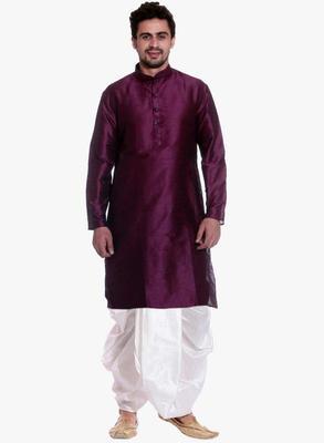 PinkViolet Silk Ethnic Indian Traditional Mens Festive Wear Dhoti Kurta