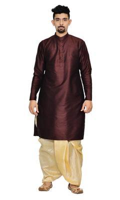 Brown Silk Ethnic Indian Traditional Mens Festive Wear Dhoti Kurta