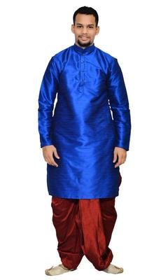 Blue Silk Ethnic Indian Traditional Mens Festive Wear Dhoti Kurta
