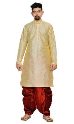 Gold Silk Ethnic Indian Traditional Mens Festive Wear Dhoti Kurta
