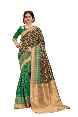Multicolor banarasi art silk saree with blouse