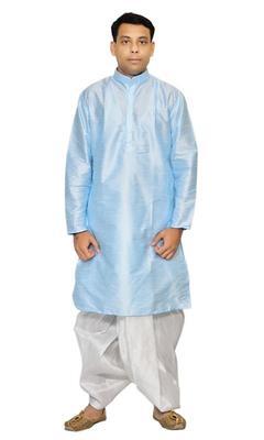 Blue Silk Ethnic Indian Traditional Mens Festive Wear Dhoti Kurta